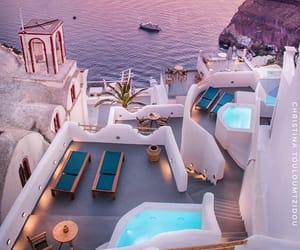 travel, Greece, and sunset image