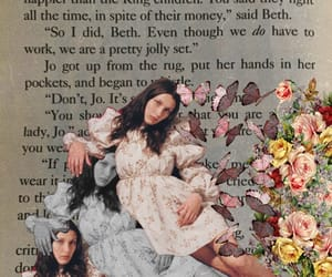book, flowers, and little women image