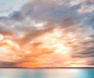 sea, sunset, and love image