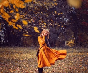 autumn, forest, and girl image