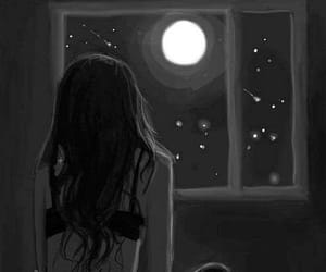 girl, moon, and night image