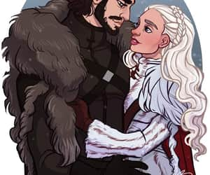 white wolf, jon snow, and daenerys targaryen image