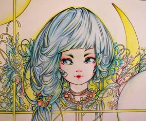 color pencil, colorful, and cute girl image