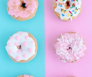 wallpaper, blue, and donuts image