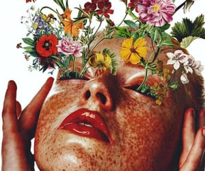 art, collage art, and florals image