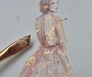 art, gold, and dress image