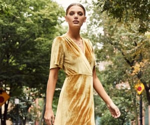 lovely, wrap dresses, and yellow dresses image