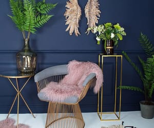 chair, coffee table, and flowers image