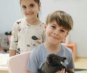 kids, rabbit, and smile image