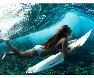 beach, sea, and surfing image
