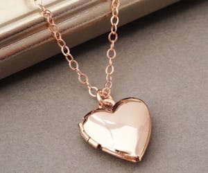heart, necklace, and rose gold image