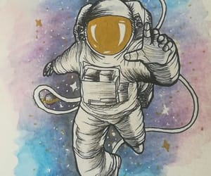 aquarelle, astronaut, and draw image