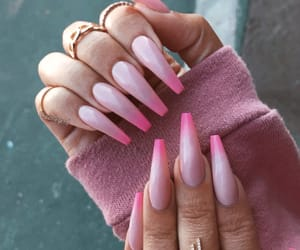 nails, acrylic, and pink image