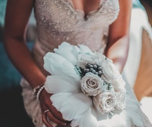 bridal, bride, and flowers image
