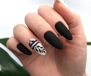 black, black nails, and nail art image