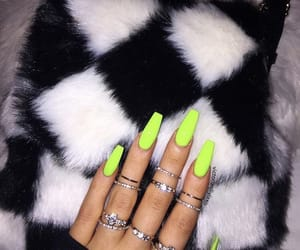 green nails, nails, and neon nails image