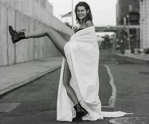 bella hadid, black and white, and boots image