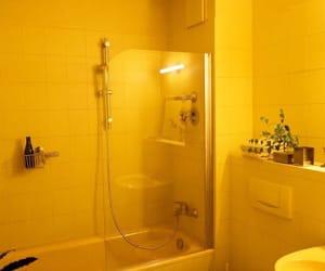 aesthetic, bathroom, and yellow image
