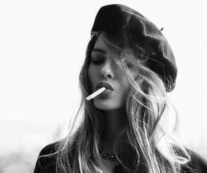 girl, cigarette, and beauty image