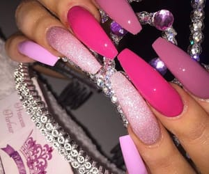 aesthetic, long nails, and pink image