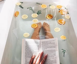 book, bath, and lemon image