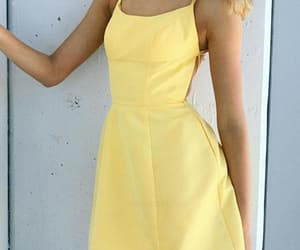 a-line homecoming dress, sexy homecoming dress, and yellow homecoming dress image