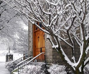 snow, winter, and church image