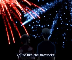 anime, fireworks, and couple image