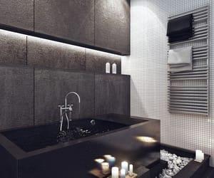 bathroom, black, and design image