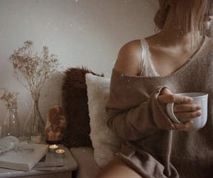 girl, autumn, and coffee image