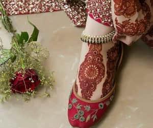 bride, feets, and mehndi image