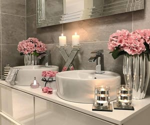 bathroom, design, and flowers image