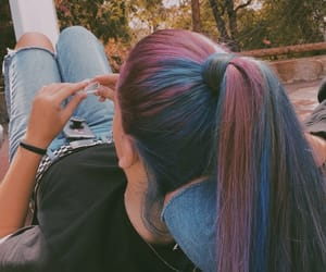blue hair, hair, and teenager image