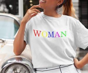 fashion shirt, rainbow shirt, and woman t shirt image