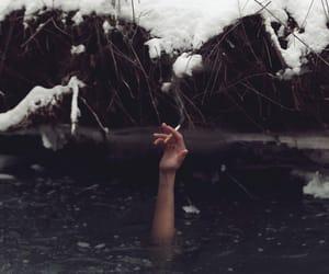 cigarette, smoke, and snow image