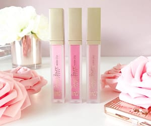 cosmetic, flower, and lip gloss image