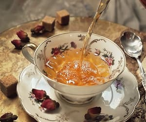cup of tea, gif, and rose petals image