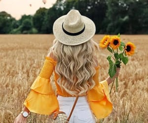 girl, sunflower, and inspiration image