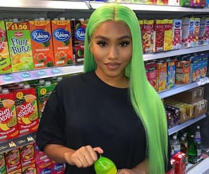 wig, green hair, and makeup image