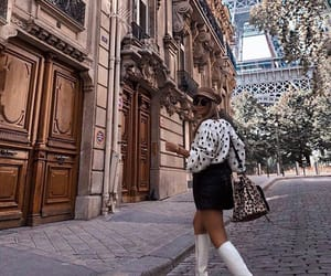 black skirt, blouse, and eiffel tower image