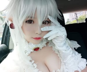 white hair girl cosplay, cute cosplayer, and boosette cosplayer image