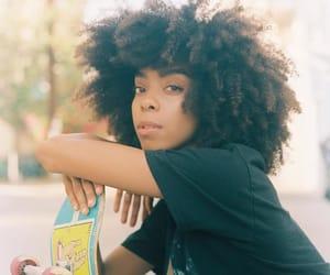big hair, curly hair, and skateboard image