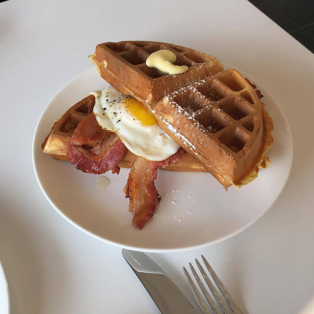 brunch, food, and waffles image