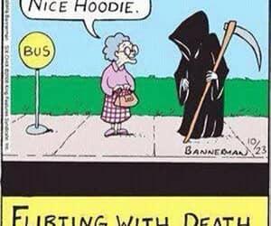 death, flirting, and hoodie image