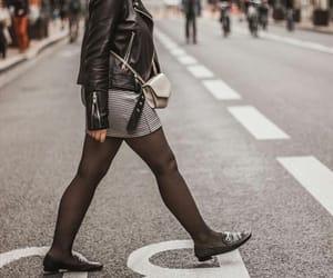 black, jacket, and miniskirt image