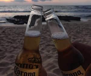beach, corona, and couple image
