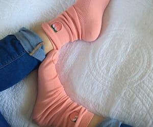 peach, pink, and socks image