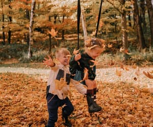 autumn, children, and forest image