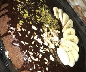 delicious yum yummy, chocolate cake banana, and food eating snapchat image