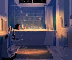 art, bath, and night image